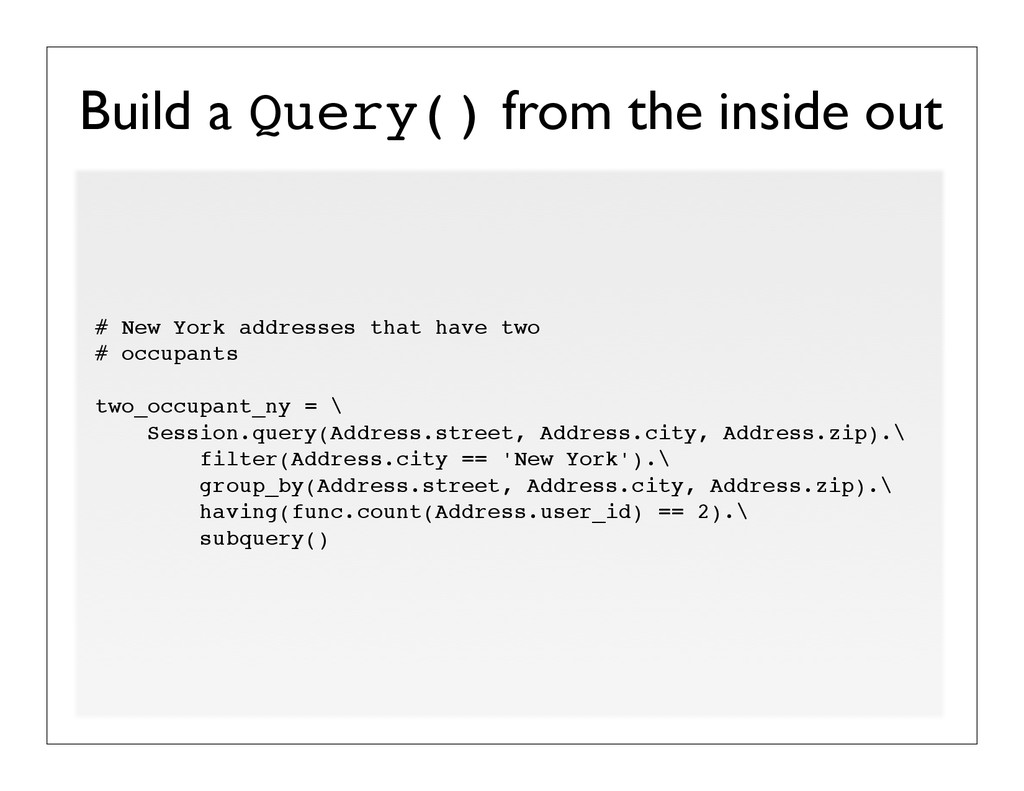 Build a Query() from the inside out # New York ...