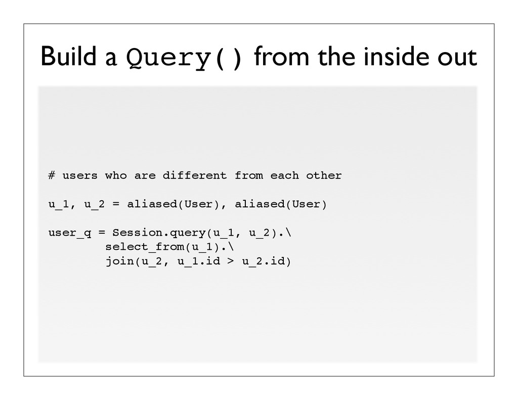 Build a Query() from the inside out # users who...