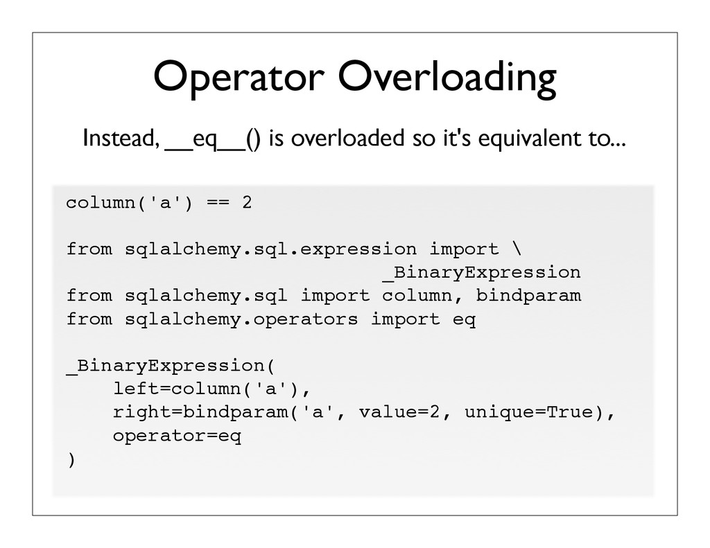 Instead, __eq__() is overloaded so it's equival...