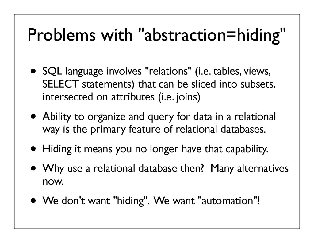 "Problems with ""abstraction=hiding"" • SQL langua..."