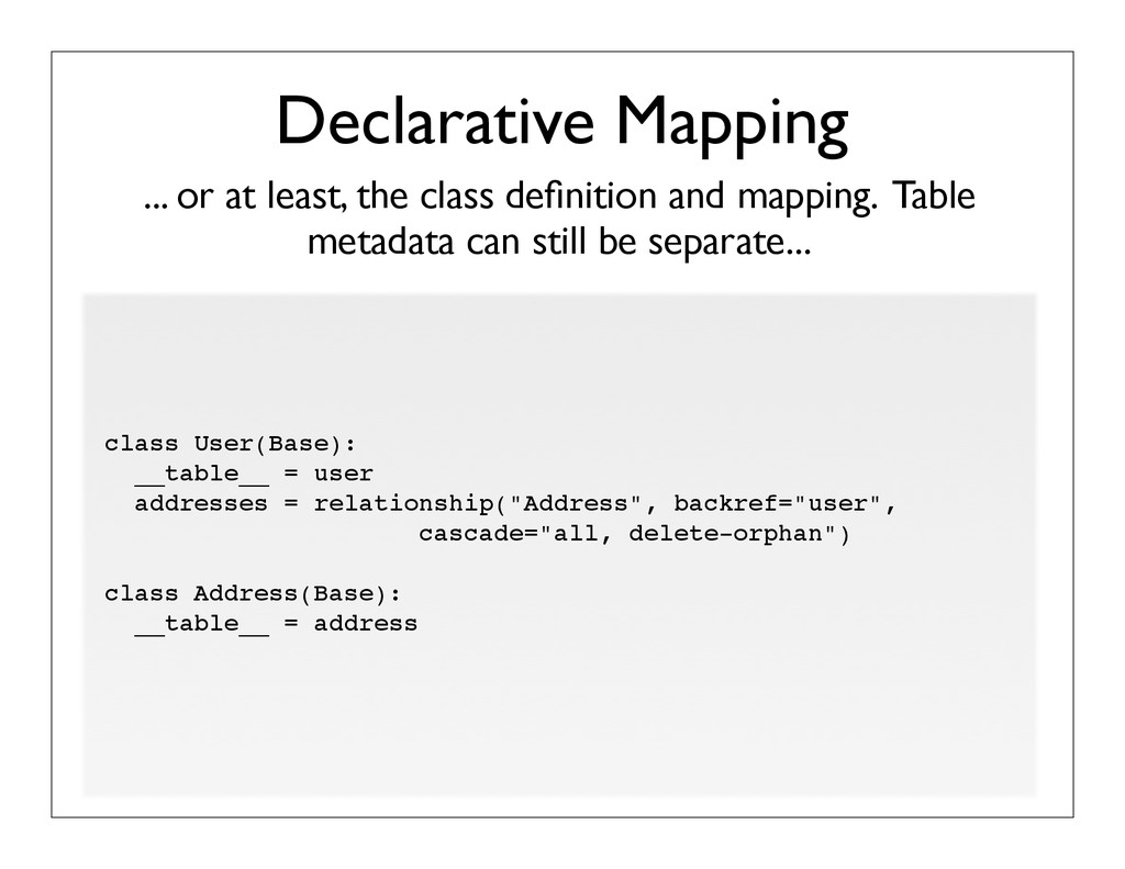 ... or at least, the class definition and mappin...