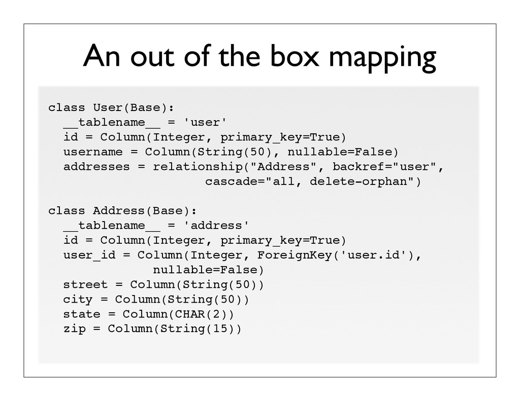 An out of the box mapping class User(Base): __t...