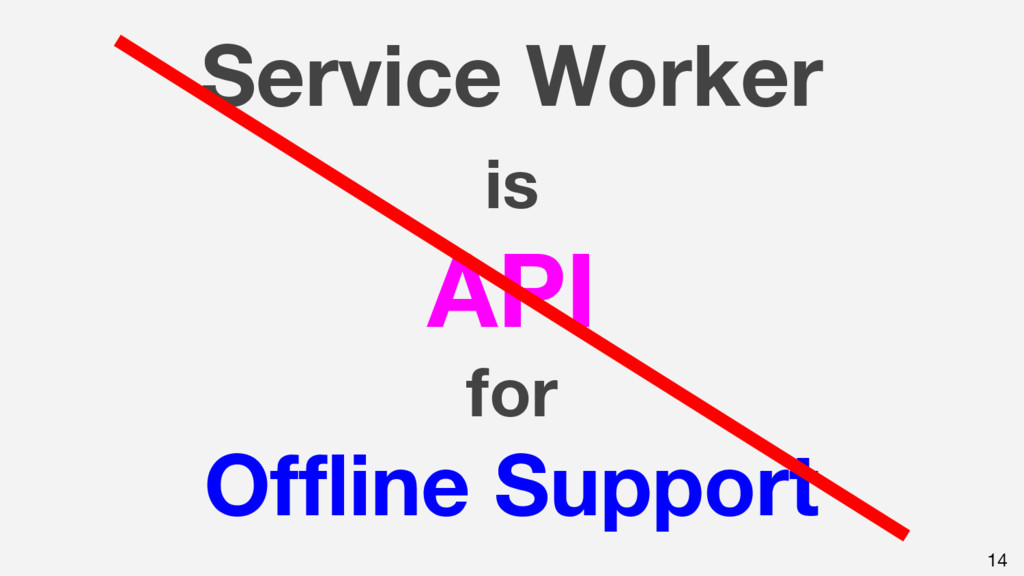Service Worker is API for Offline Support 14