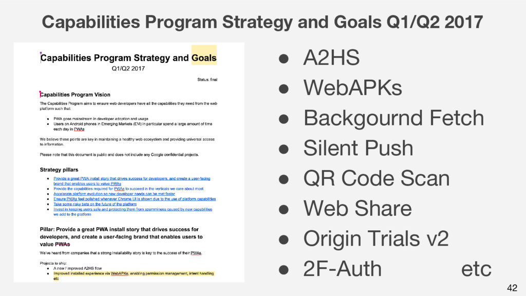 42 Capabilities Program Strategy and Goals Q1/Q...