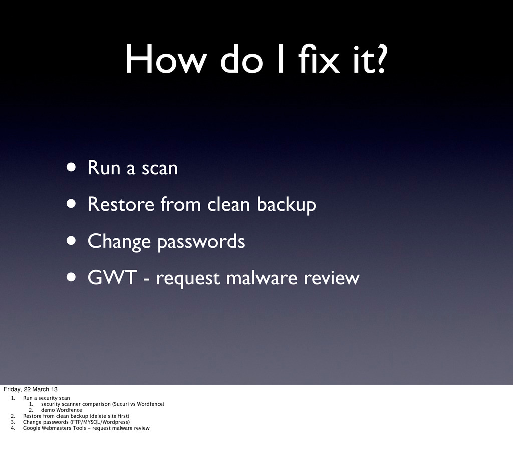 How do I fix it? • Run a scan • Restore from cle...
