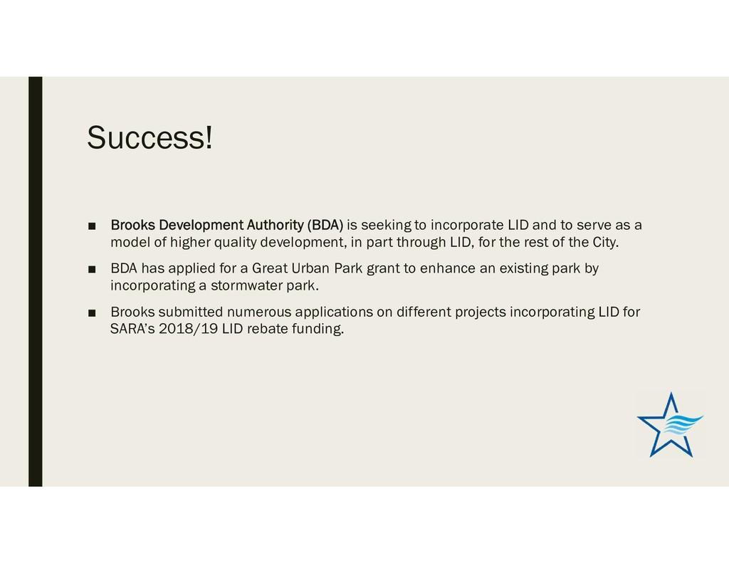 Success! ■ Brooks Development Authority (BDA) i...