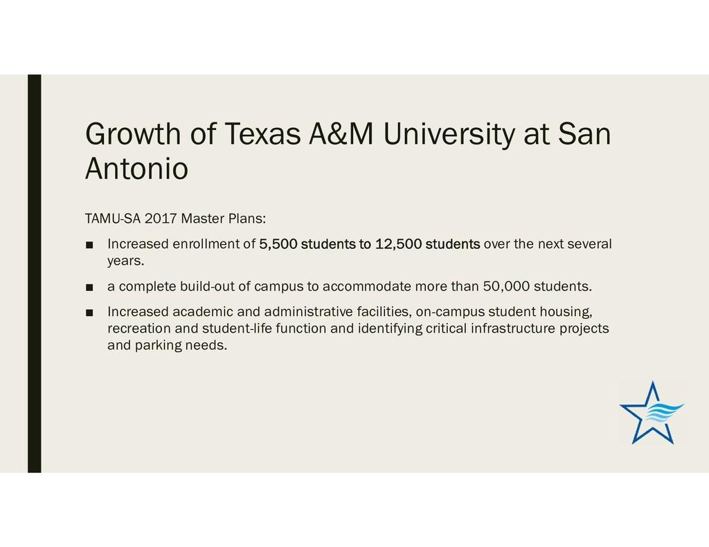 Growth of Texas A&M University at San Antonio T...