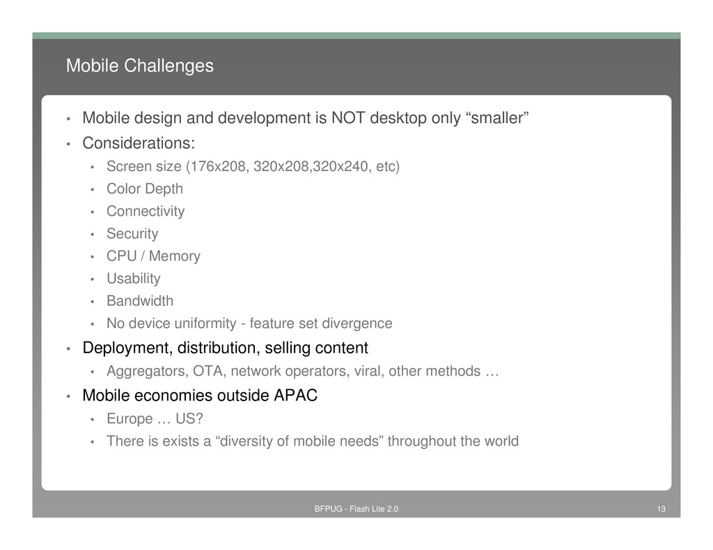 Mobile Challenges • Mobile design and developme...