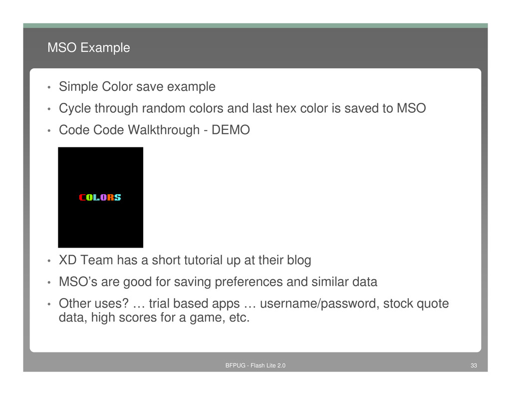 MSO Example • Simple Color save example • Cycle...