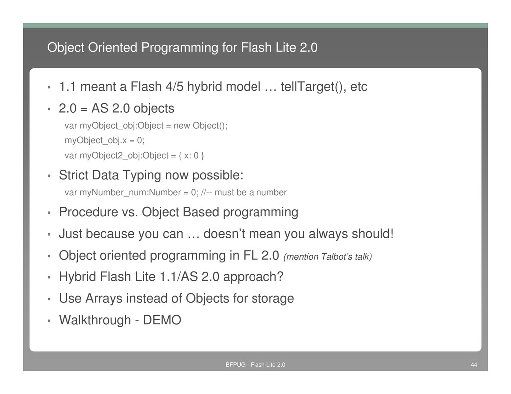 Object Oriented Programming for Flash Lite 2.0 ...