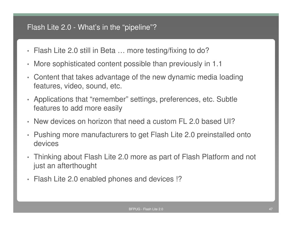 "Flash Lite 2.0 - What's in the ""pipeline""? • Fl..."