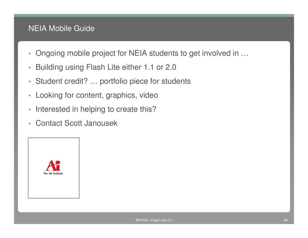 NEIA Mobile Guide • Ongoing mobile project for ...