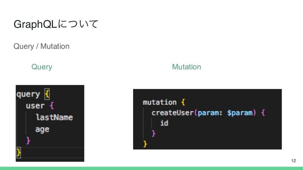 GraphQLʹ͍ͭͯ Query Mutation 12 Query / Mutation