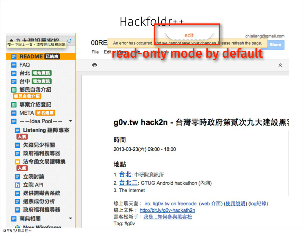 Hackfoldr++ read-only mode by default 13年8⽉月3⽇日...