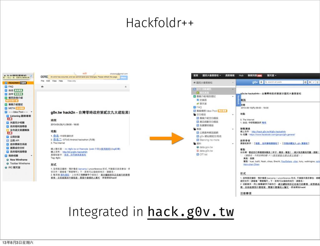 Hackfoldr++ Integrated in hack.g0v.tw 13年8⽉月3⽇日...