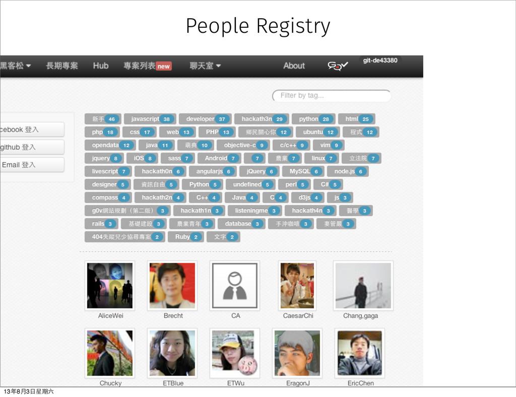 People Registry 13年8⽉月3⽇日星期六