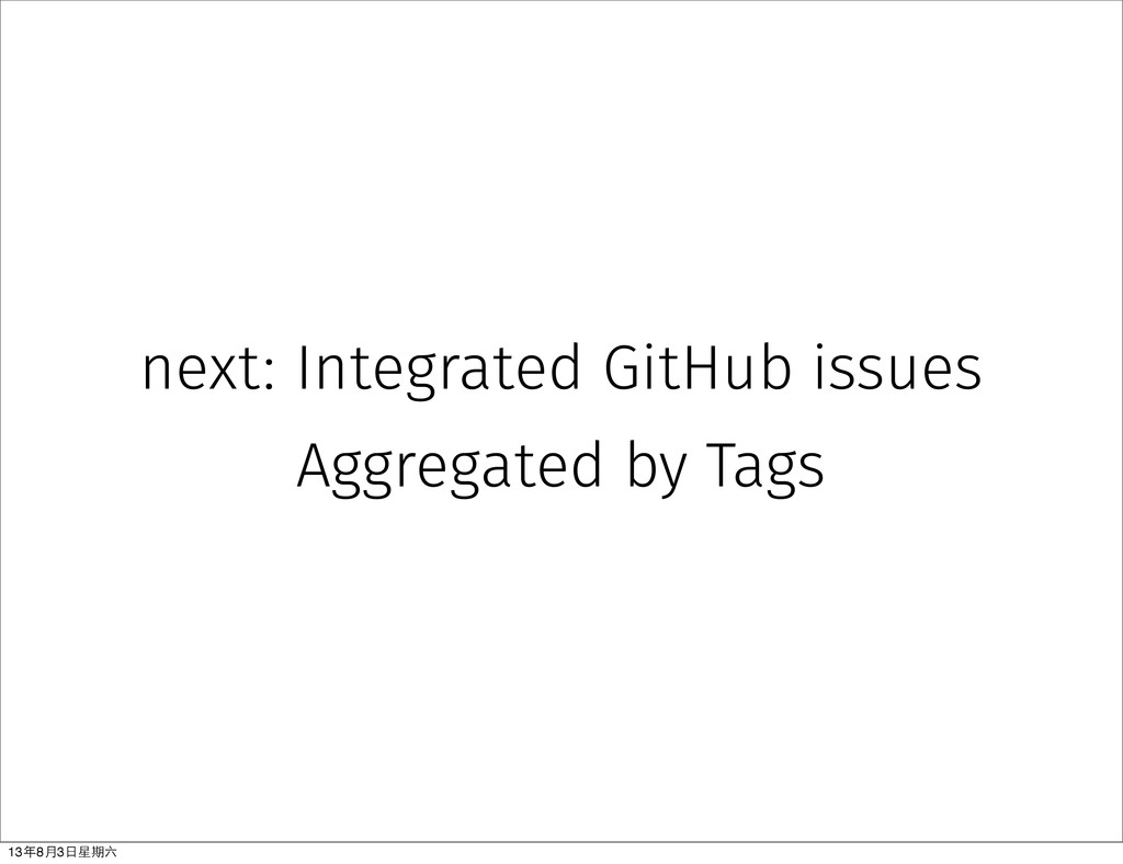 next: Integrated GitHub issues Aggregated by Ta...