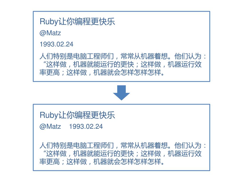 Ruby让你编程更快乐 1993.02.24 人们特别是电脑工程师们,常常从机器着想。他们认为...