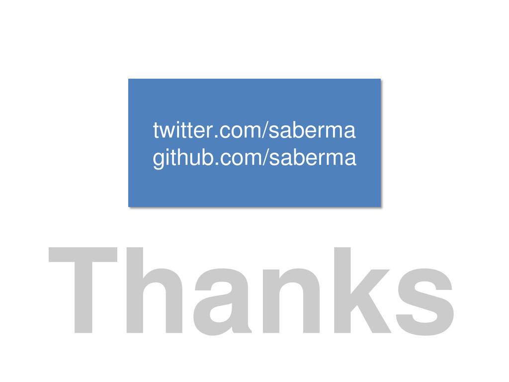 Thanks twitter.com/saberma github.com/saberma