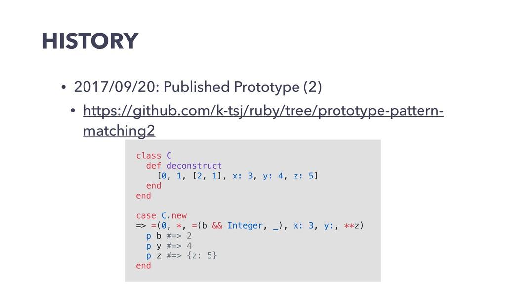 HISTORY • 2017/09/20: Published Prototype (2) •...