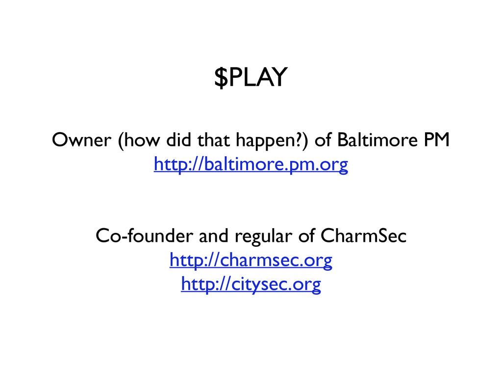 $PLAY Owner (how did that happen?) of Baltimore...