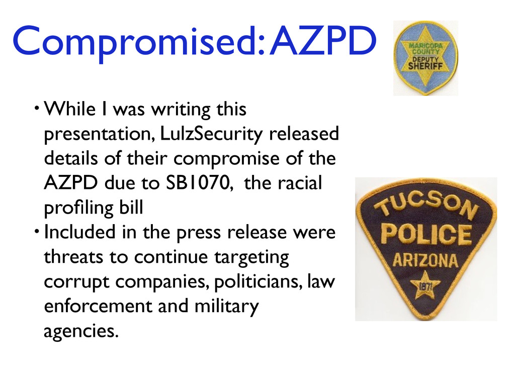 Compromised: AZPD • While I was writing this pr...