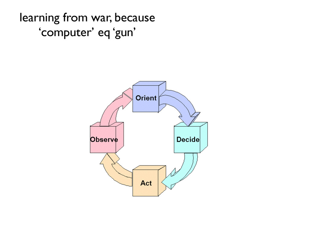 learning from war, because 'computer' eq 'gun'