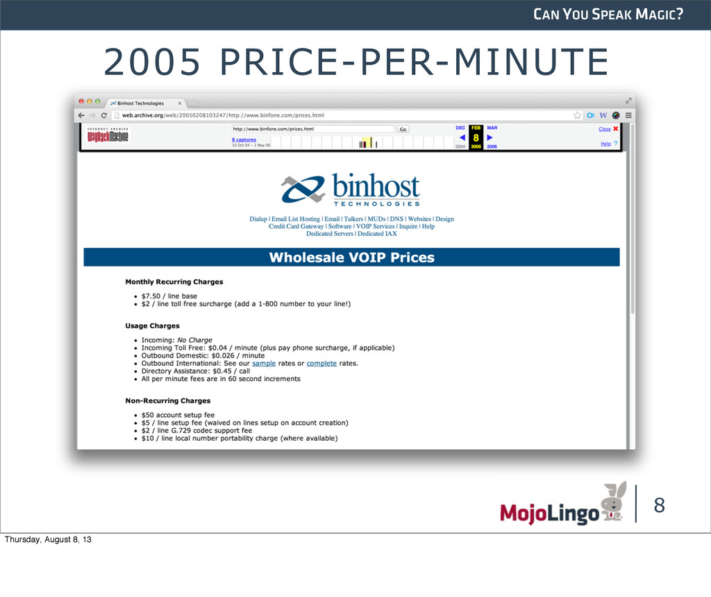CAN YOU SPEAK MAGIC? 2005 PRICE-PER-MINUTE 8 Th...