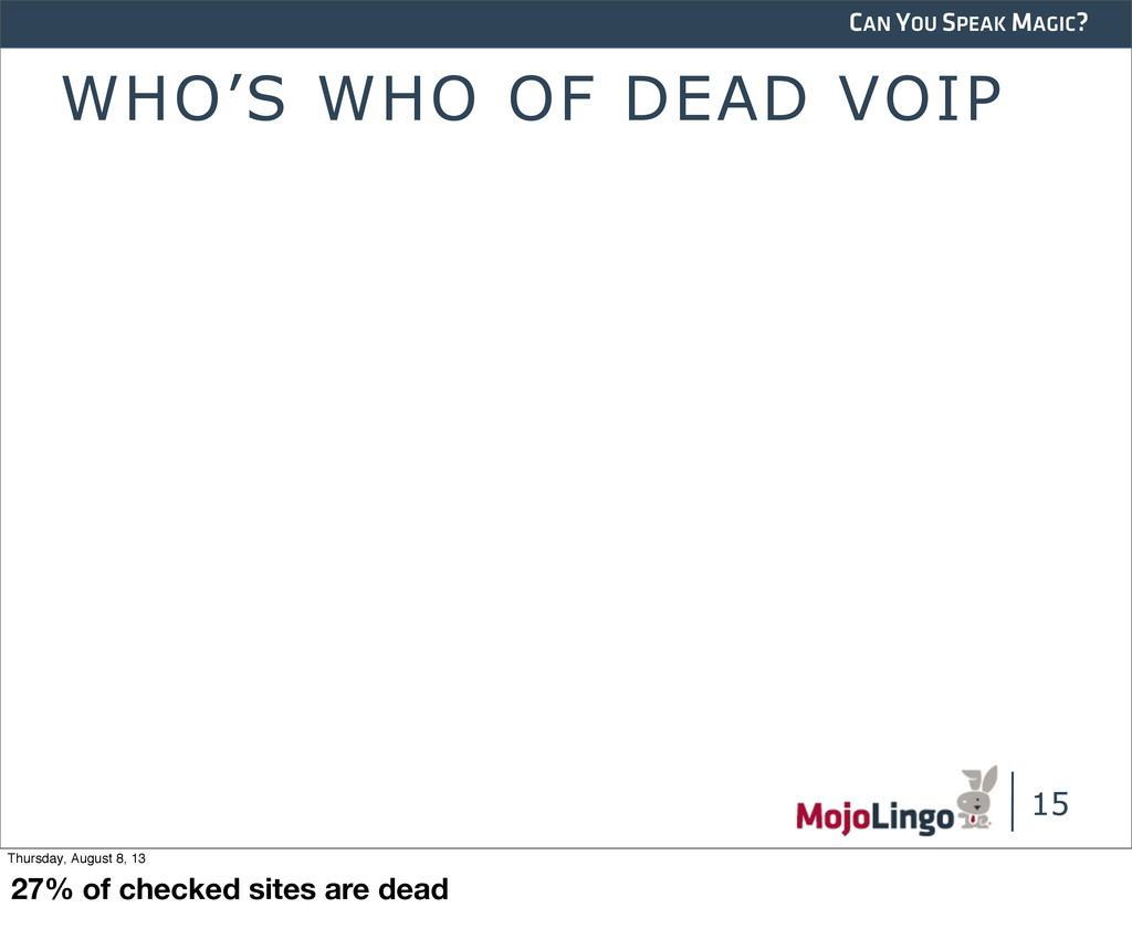 CAN YOU SPEAK MAGIC? WHO'S WHO OF DEAD VOIP 15 ...