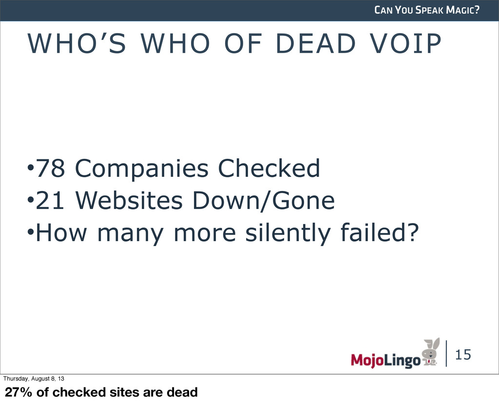 CAN YOU SPEAK MAGIC? WHO'S WHO OF DEAD VOIP •78...