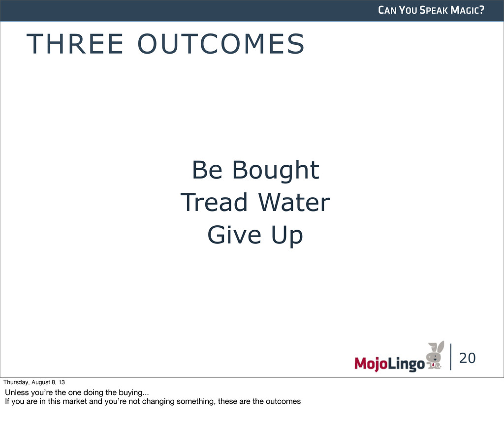 CAN YOU SPEAK MAGIC? THREE OUTCOMES Be Bought T...