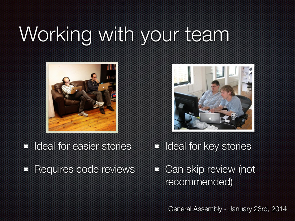 Working with your team Ideal for easier stories...