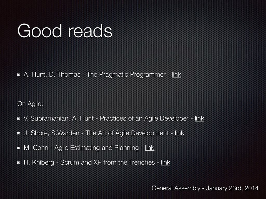 Good reads A. Hunt, D. Thomas - The Pragmatic P...