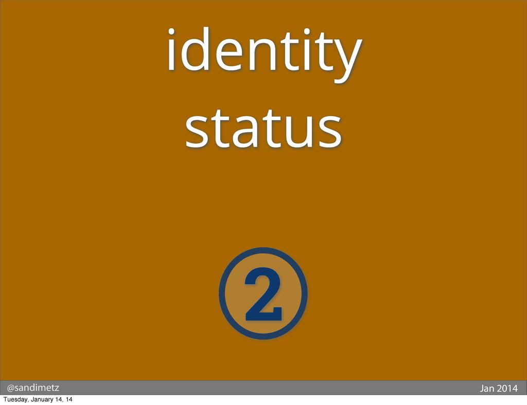 @sandimetz Jan 2014 2 identity status Tuesday, ...