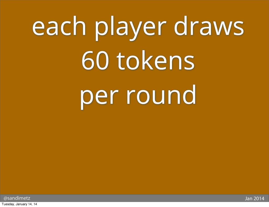 @sandimetz Jan 2014 each player draws 60 tokens...