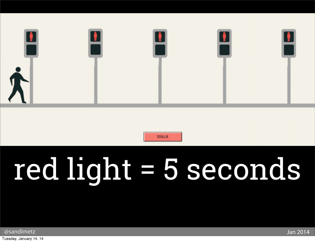 @sandimetz Jan 2014 red light = 5 seconds Tuesd...