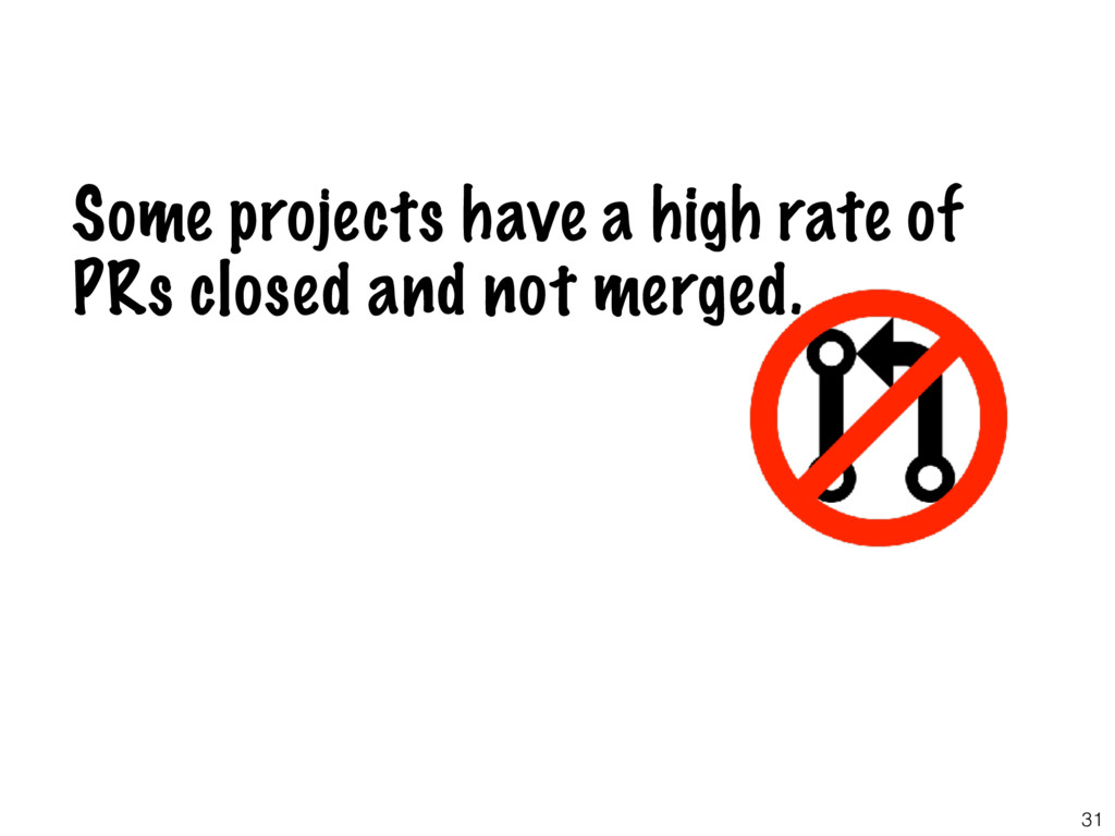 31 Some projects have a high rate of PRs closed...