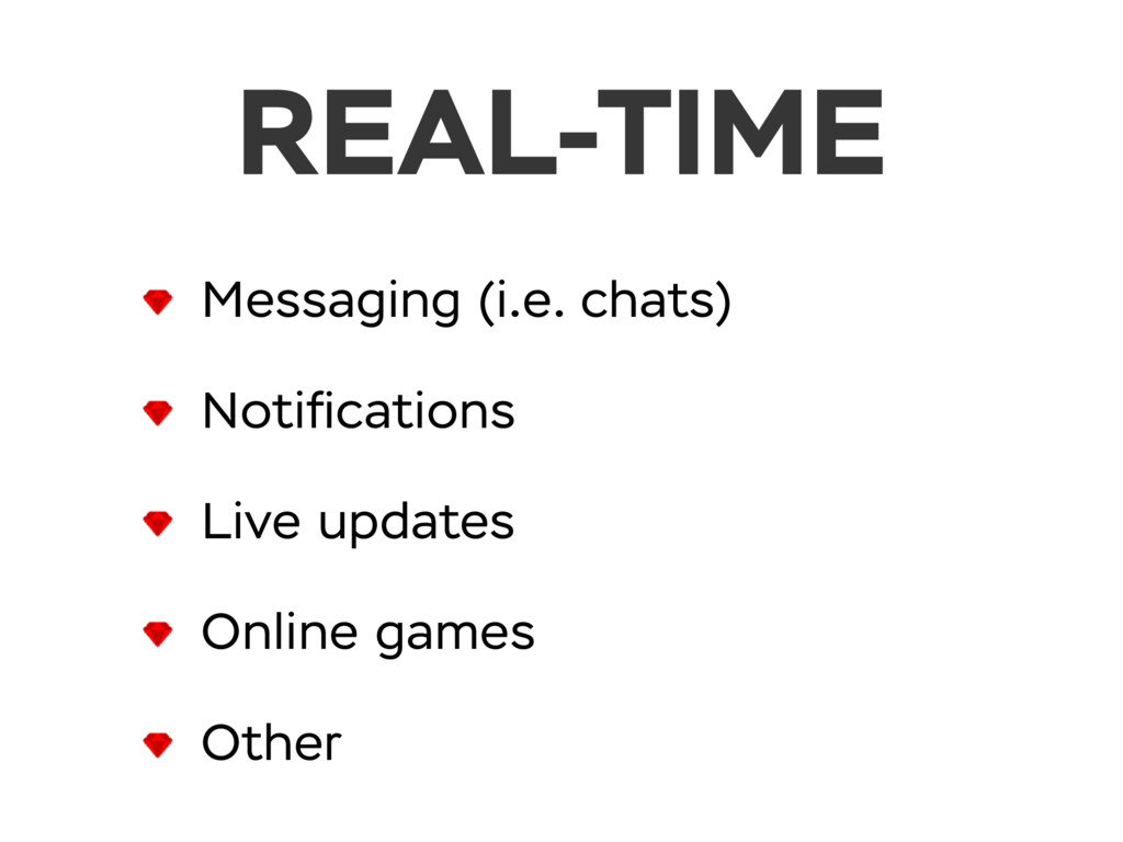 REAL-TIME Messaging (i.e. chats) Notifications L...