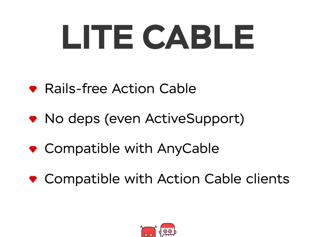 Rails-free Action Cable No deps (even ActiveSup...