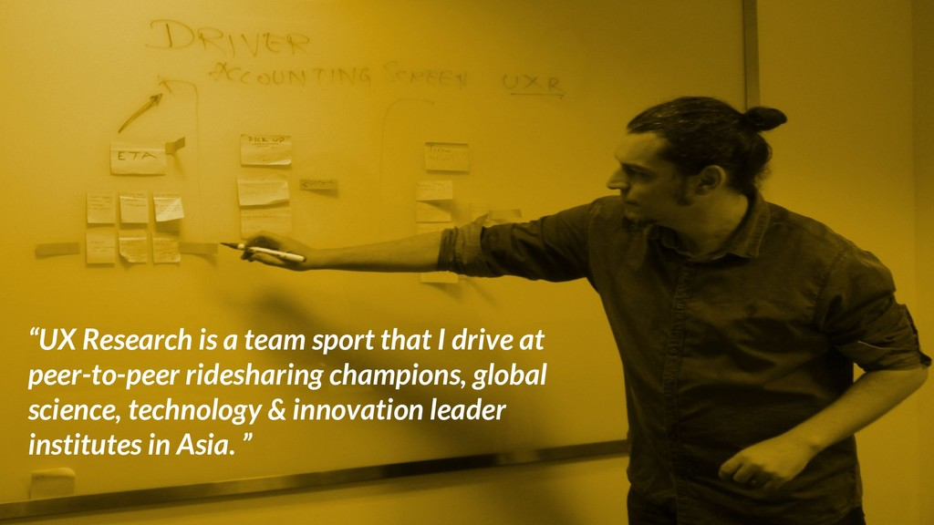 """UX Research is a team sport that I drive at pe..."