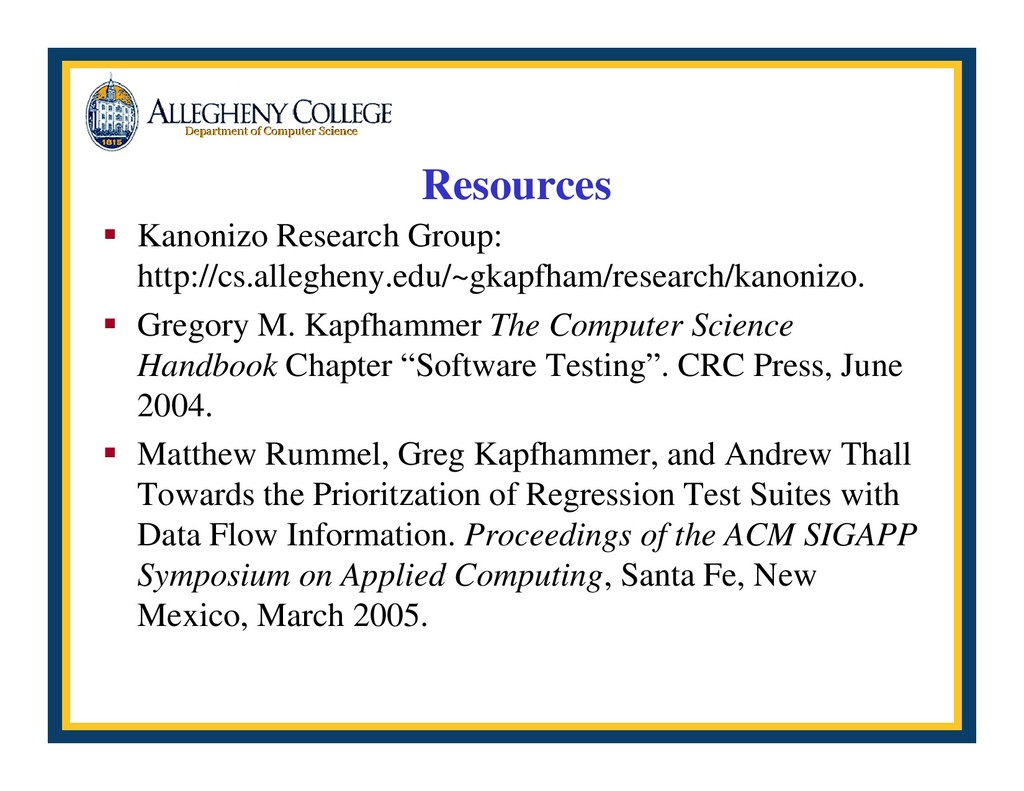 Resources ƒ Kanonizo Research Group: http://cs....