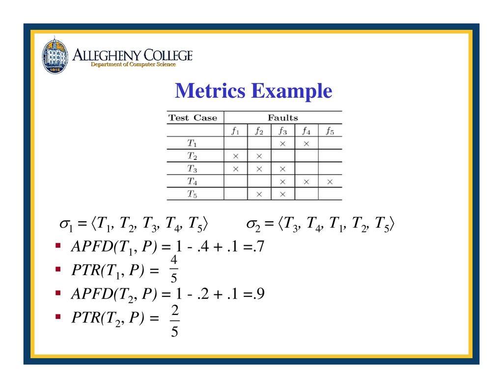 Metrics Example σ 1 = 〈T 1 , T 2 , T 3 , T 4 , ...