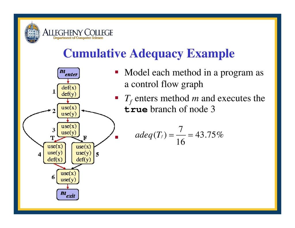 Cumulative Adequacy Example ƒ Model each method...
