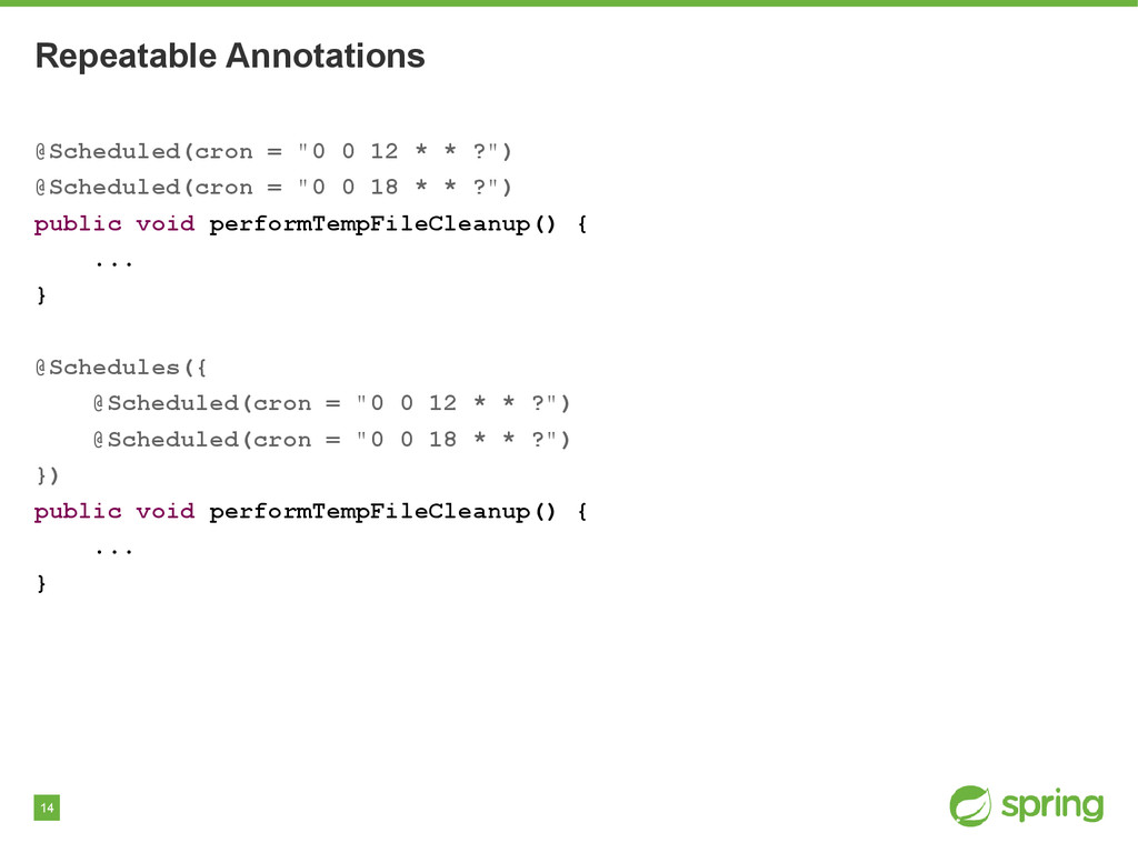 """14 Repeatable Annotations @Scheduled(cron = """"0 ..."""