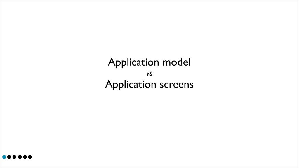 Application screens Application model vs