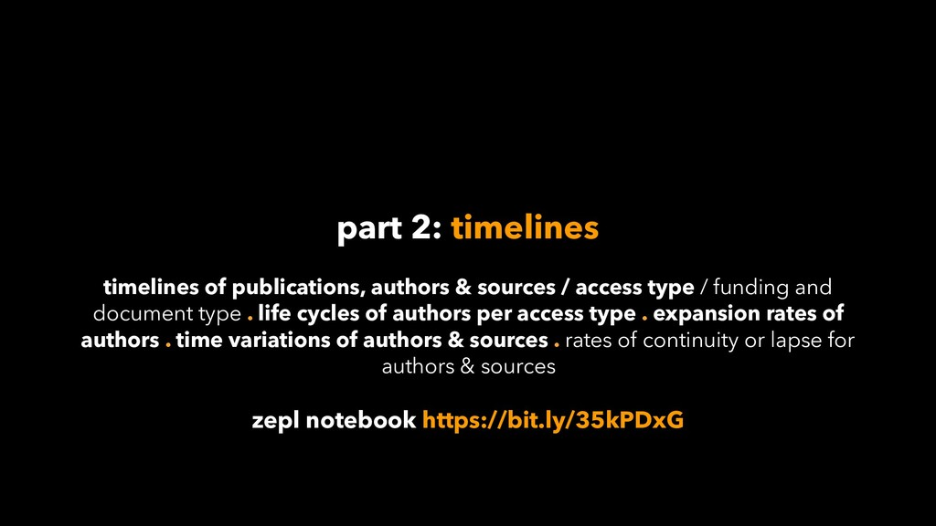 part 2: timelines timelines of publications, au...