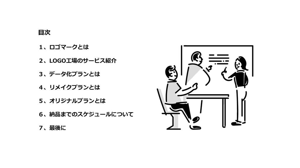⽬次 1、ロゴマークとは 2、LOGO⼯場のサービス紹介 3、データ化プランとは 4、リメイク...
