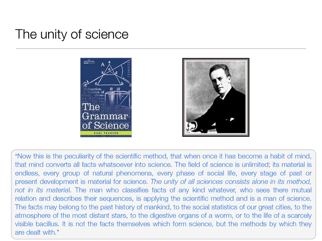 """The unity of science """"Now this is the peculiari..."""