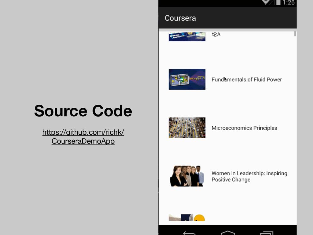 Source Code https://github.com/richk/ CourseraD...