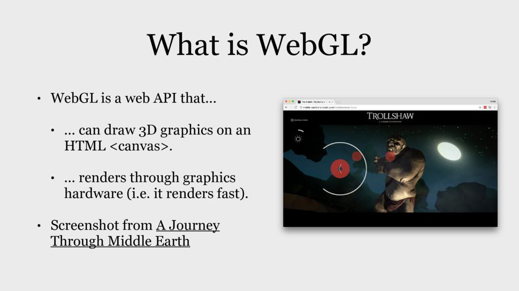 What is WebGL? • WebGL is a web API that... • ....